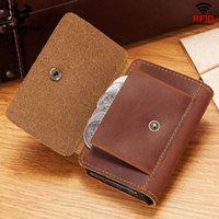 Rfid Blocking Protection Men ID Card Holder Wallet Leather Metal Aluminum Business Double Bank Card Case CreditCard Cardholder