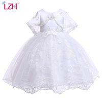 Lzh crianças vestidos para meninas lace princesa vestido branco flor meninas vestido de casamento crianças vestido festa de aniversário crianças roupas 210426