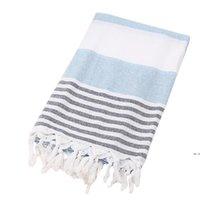 Turco algodão mulher toalha de praia viagens tassel listras senhora xaile spa yoga suor wipe 100x180cm hwd5867