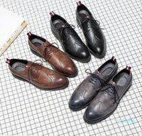 Designer-Mens casual shoes wingtip black leather formal wedding dress derby oxfords flat shoes tan brogues shoes for men