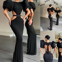 Black Sexy Mermaid Evening Dresses Poet Short Sleeve Backless Prom Gowns Hollow Red Carpet Fashion Party Dress