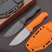 Promotion 15006 Survival Straight Knife CPM-S30V Black Stone Wash Drop Point Blade Full Tang Santoprene Handle Fixed Blades Knives With Kydex