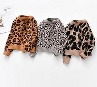 INS Baby Kids Pullover Suéter de manga larga Leopard Design Botones Princesa Girl Ropa Suéteres