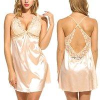 Sexy Biancheria intima Pigiama Sleepwear Delle Donne Donne Pizzo Robe Pajama Night Gown Nightdress Ladies Spaghetti Strap Satin Solid NightGowns Homewear