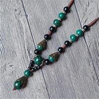 Женщины Богемные ожерелья ожерелья геометрические серебряные рыбы Очарование листьев подвески Choker керамические бусины веревочки цепят ювелирные изделия