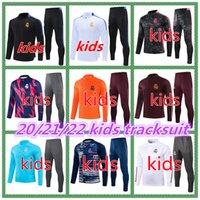 20 21 Real Madrid Kids Cousssuit Джемкости Kit 2021 2022 Опасность Sergiio Ramos Benzema Hoodie Training Childite Cousits Football Suit