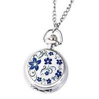 Pocket Watches Couple Models Classic Fashion Retro Quartz Small Silver Lotus Blue Flower Watch