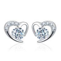 White Purple Zircon Cute Heart Stud Earring For Women Girls Wedding Jewelry Vintage Silver Color Crystal Small Earrings