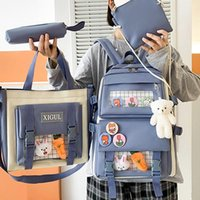 Backpack 2021 4Pcs set Canvas School Backpacks Women Lovely Bags For Teenage Girls Bookbags Students Travel Shoulder Female