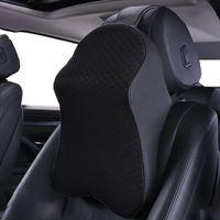 車の枕の自動首をサポート枕のクッションは、黒のPUの革とメモリの泡立ち台車のシートヘッドレストのエルゴノミックデザイン(1パック)