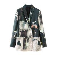Femmes Blazer manches longues à double boutonnage Cravate Cravate Teinture Patchwork costume Fashion Casual Chic Lady Femme 210420