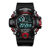 손목 시계 유니섹스 시계 플렉시 글라스 미러 디지털 다기능 스포츠 남자 패션 디스플레이 날짜 달력 주 경보