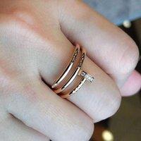 Luksusowy Paznokci Pierścień Dla Kobiet Ze Stali Nierdzewnej Moda Para Styl Cyrkon Shell Valentine Bożenarodzeniowy prezent Hurt