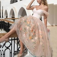 2021 Floral Embroidery Lace Party Short Prom Dresses With Detachable Sleeves Puffy Tulle Skirt Tea Length Cocktail Formal Wear Plus Size Women Casual Dress AL9573