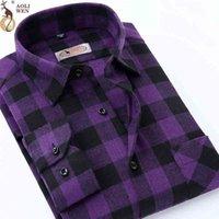 Aoliwen Новая модная блузка рубашка мужская рубашка бренд мужская и фиолетовая плед печать свободно для мужской длинной рубашки одежда Sizem-5XL 210410