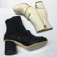 Luxury Designer womens Tassel Ankle Boots Top quality 100% Cowskin Genuine Leather fashion Button Shoes Round Toes 7.5CM Thick High heel wom