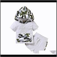 Abbigliamento set Pudcoco Kids Baby Boys 2pcs Outfit Set Set manica corta con cappuccio Button Camouflage Top Ding Cinghie Pantaloni elasticizzati 4T Pnphj IWvdy