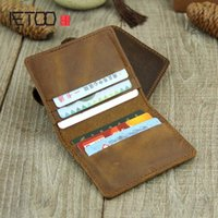 Card Holders AETOO Handmade Small Package Six Bit Full Leather Coin Purse Crazy Horse First Layer Cowhide Driver L