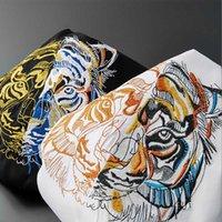 Cabeça de tigre T-shirt de mangas curtas cor sólida Mercerizado algodão fino em volta do pescoço pulôver bordado estilo chinês vestuário masculino