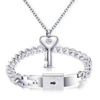 Lien Bijoux en acier titane Love Bracelet Collier Pendentif Set Femme Lock homme Homme Skyward Saint Valentin Cadeau