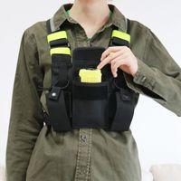 Evrensel Radyolar Koşum Göğüs Teçhizat Çanta Cep Paketi Kılıfı Yelek Floresan Yeşil Motorola Icom Kenwood Vertex Iki Yönlü Radyo