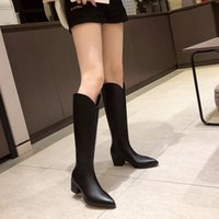 Fashion Winter Female Over The Knee Boots Women Thigh High Boot Fur Zip Thick Heels Shoes Woman Knight Boots Size 34-39 Botas Mujer