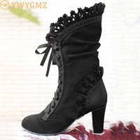 Boots 2021 Women Lace Women's High Heel Middle Tube Botas Zapatos Mujer Retro Leather Winter Shoes Booties Cowboy