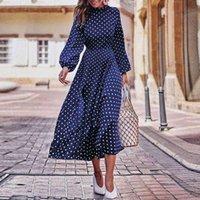 Casual Dresses Boho Lantern Sleeve Polka Dot Printed Long Dress Women Elegant Vintage Stand Collar Sleeves Autumn Plus Size