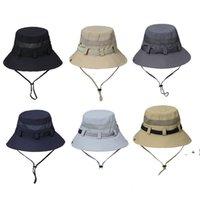 الصياد القبعات تنفس شبكة حزام واسعة حوض قبعة التظليل في الهواء الطلق طوي الرجال ربيع الخريف الصيف حماية الشمس كاب الألومنيوم OWC7580