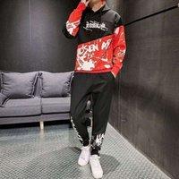 브랜드 tracksuits 패션 플러시 남성용 splicing 후드 스웨터 캐주얼 바지 슬림 맞는 슈트