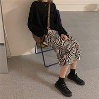 Goohojio 2021 nouveau zèbre imprimer taille haute taille longue jupe automne une ligne élégante jupe femme mode occasionnel vintage urbain femme jupe