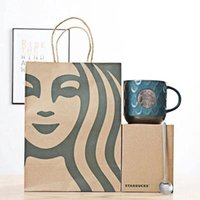 New 473ML Starbucks Cup Luxury Ceramic Mugs Coffee Mug with Starbucks Spoon Anniversary Gift Products with Package Box
