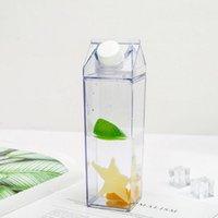 Botellas de agua Taza de plástico transparente Reutilizable Caja cuadrada de leche cuadrada en forma de jugo de botella para té de fruta bebiendo r4n3