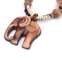 Boho ethnischer Schmuck lange Hand gemacht Perlen Elefant Anhänger Langholz Halskette für Frauen Bijoux Geschenke Valentinstag Geschenk