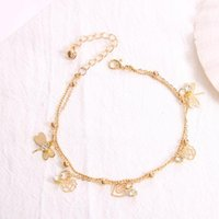 Anklets OTOKY Brand Double Chain Dragonfly Anklet Jewelry Beach Section Beads Boho Foot Gothic Bohemian Jul27