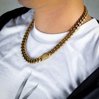 Mens Necklace Chain Gold Silver Color Stainless Steel Necklaces For Men Fashion Jewelry 8 12mm Chains