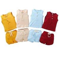 Clothing Sets Toddler Baby Kids Sleeveless T-shirts+Elastic Band Pocket Shorts Clothes Outfits Set 2PCS Casual For Boys