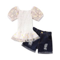 Clothing Sets Girls Outfits Baby Clothes Kids Suits Children Summer Chiffon Lace Flower Short Sleeve Tops Denim Pants Shorts 2Pcs 1-5Y B5401