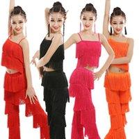 Sahne Giyim Latin Dans Elbise Kızlar Için Yetişkin Balo Salonu Püskül Saçak Tops Pantolon Salsa Samba Kostüm Çocuklar Çocuk Yarışması G8TZ