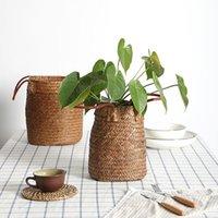 Hand-Woven Storage Basket Nordic Seagrass Woven Garden Flower Vase Hanging Home Decor Organizer Planters & Pots