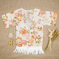 소녀 꽃 모자 poncho와 함께 술 cless 꽃 반사 넓은 소매 라미 봄 가을 탑스 복장 1-5t 32 y2