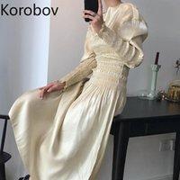 Casual Dresses Korobov Retro Court Style Pleat Solid Temperament Party Dress High Waist Hip Slim A Line Vestido Spring Puff Long Sleeve Ropa