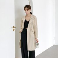 SytleOuterwear Womens Autumn Desinger Trench Coats Long Sleee Lapel Neck Solid Color Female Clothing Casual Ol