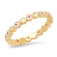 Eye Rainbow Evil Rhinestone Заполненные золотые кольца для женщин Винтажные дамы MIDI Куунл Кольцо пальца Золотая полоса кольца Ювелирные Изделия Рождество 1590 Q2