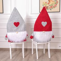 Julstol Back Cover Non-woven Fabric Heart Shape Seat Slipcovers Nordic Forester Xmas Cover Table Decor Festival Supplies HWB9601