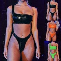 Women's Swimwear Women Sexy Bikini Set Solid One Shoulder Bandage Push-up Padded Bra Thong Swimsuit Bathing Suit Beachwear S-XL