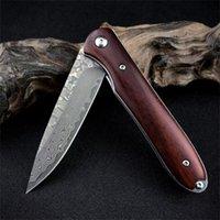 Day day dama 접이식 나이프 다마스커스 강철 날카로운 칼날 붉은 신 사냥 칼 캠핑 사냥 칼 야외 도구 선물 남성용