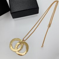 Luxury Designer Necklaces Double Letter Glass Crystal Necklace Same Earrings Brooches For Women Top Gift With Stamp