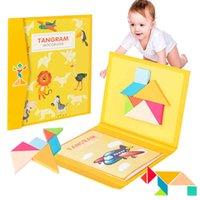 3D Magnético de madera Puzzle de madera Jigsaw Tangram Libro de juguete Pensamiento juego Juguetes educativos Montessori para niños 210330