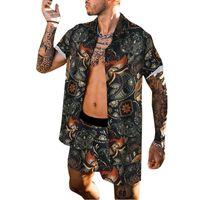 Hommes Tracksuits Summer Hawaiian Ensems Designer Flower Chemises imprimées Beach Shorts Mode 2 Morceau Tops Pantalons Hommes